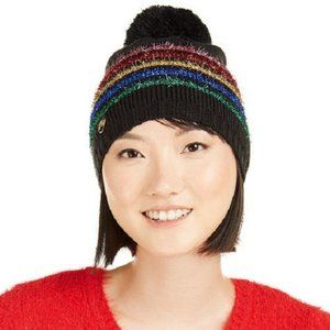 Betsey Johnson Rainbow Stripe Beanie Pom Pom
